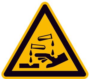 Warnschild, Warnung vor ätzenden Stoffen (Maße (SL)/Material/Variante: 25 mm / Folie, 44er-Bogen (Art.Nr.: 30.a8105))