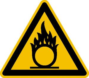 Warnschild, Warnung vor brandfördernden Stoffen (Maße (SL)/Material/Variante: 50 mm / Folie, 10er-Bogen (Art.Nr.: 30.a1000))
