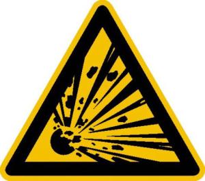 Warnschild, Warnung vor explosionsgefährlichen Stoffen (Maße (SL)/Material/Variante: 25 mm / Folie, 44er-Bogen (Art.Nr.: 30.0342))