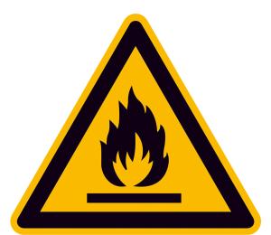 Warnschild, Warnung vor feuergefährlichen Stoffen (Maße (SL)/Material/Variante: 25 mm / Folie, 44er-Bogen (Art.Nr.: 30.0340))