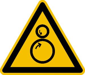 Warnschild, Warnung vor gegenläufigen Rollen (Maße (SL) / Material: 50 mm / Folie, 10er-Bogen (Art.Nr.: 30.a8260))