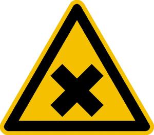Warnschild, Warnung vor gesundheitsschädlichen oder reizenden Stoffen (Maße (SL) / Material / Variante: 25 mm / Folie, 44er-Bogen (Art.Nr.: 30.0365))