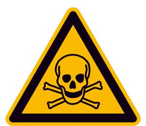 Warnschild, Warnung vor giftigen Stoffen (Maße (SL)/Material/Variante: 25 mm / Folie, 44er-Bogen (Art.Nr.: 30.0344))