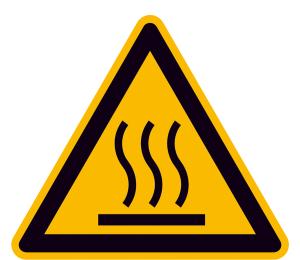Warnschild, Warnung vor heißer Oberfläche (Maße (SL) / Material / Variante: 25 mm / Folie, 44er-Bogen (Art.Nr.: 30.0369))