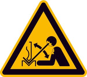 Warnschild, Warnung vor hochschnellendem Werkstück in einer Presse (Maße (SL) / Material: 100 mm / Folie, selbstklebend (Art.Nr.: 21.a8251))