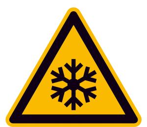 Warnschild, Warnung vor niedriger Temperatur / Frost (Maße (SL) / Material / Variante: 25 mm / Folie, 44er-Bogen (Art.Nr.: 30.0367))
