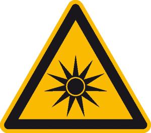 Warnschild, Warnung vor optischer Strahlung (Maße (SL): 25 mm / Folie, 44er-Bogen (Art.Nr.: 30.1077))