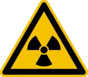 Warnschild, Warnung vor radioaktiven Stoffen oder ionisierender Strahlung (Maße (SL)/Material/Variante: 25 mm / Folie, 44er-Bogen (Art.Nr.: 30.0348))