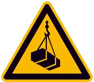 Warnschild, Warnung vor schwebender Last (Maße (SL) / Alu, geprägt / Folie, selbstklebend: 100 mm / Alu, geprägt (Art.Nr.: 11.a8220))