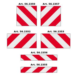 Warntafeln für überbreite und überlange Fahrzeuge nach DIN 11030 (Maße (BxH)/Folie/Variante: 423 x 423 mm /  <b>Typ 1 - RA1/A</b><br>links- oder rechtsweisend (Art.Nr.: 56.2350))