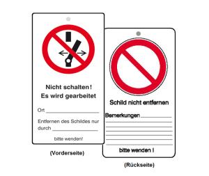 Wartungsanhänger mit Verbotszeichen und Zusatztext, Nicht schalten, VPE 10 Stück (Ausführung: Wartungsanhänger mit Verbotszeichen und Zusatztext, Nicht schalten, VPE 10 Stück (Art.Nr.: 41.1454))