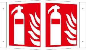 Winkel- u. Fahnenschild, Feuerlöscher (Maße(BxH)/Variante/Material: 150 x 150 mm / Winkelschild,<br>Alu, langnachleuchtend (Art.Nr.: 15.a5030))