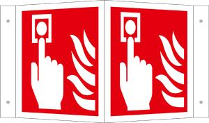 Winkel- und Fahnenschild, Brandmelder (manuell) (Maße(BxH)/Modell/Material: 150 x 150 mm /  <b>Winkelschild</b><br>Alu (Art.Nr.: 15.a5156))