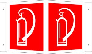 Winkel- und Fahnenschild, Feuerlöscher, langnachleuchtend (Maße(BxH)/Variante/Material: 150 x 150 mm / Winkelschild (Art.Nr.: 15.9204))