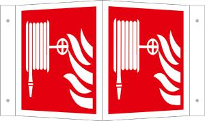 Winkel- und Fahnenschild, Löschschlauch, langnachleuchtend (Maße(BxH)/Modell: 150 x 150 mm / Winkelschild (Art.Nr.: 15.a5140))