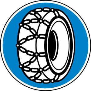 Winterschild 268 StVO, Schneeketten vorgeschrieben (Durchmesser/Folie/Form:  <b>600mm</b>/RA1/Flachform 2mm (Art.Nr.: 268-211))