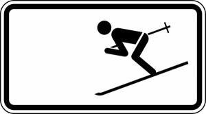 Winterschild StVO, Wintersport erlaubt Nr. 1010-11 (Ma&szlig;e/Folie/Form:  <b>231x420mm</b>/RA1/Flachform 2mm (Art.Nr.: 1010-11-111))
