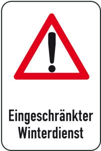 Winterschild / Verkehrszeichen, Eingeschränkter Winterdienst (Maße (BxH): 400x600mm (Art.Nr.: 14711))