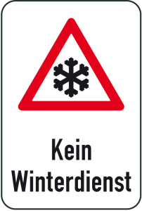 Winterschild / Verkehrszeichen, Kein Winterdienst mit Piktogramm Schneeflocke (Maße (BxH): 400x600mm (Art.Nr.: 14739))