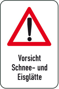 Winterschild / Verkehrszeichen, Vorsicht Schnee- und Eisglätte (Maße (BxH): 400x600mm (Art.Nr.: 14721))