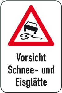 Winterschild / Verkehrszeichen, Vorsicht Schnee- und Eisglätte (Maße (BxH): 400x600mm (Art.Nr.: 14741))