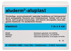 Wundverbandpflaster -aluderm®-aluplast-, Länge 1 m, 10 Stück á 100 mm (Breite/Modell:  <b>40 mm</b>/elastisch (Art.Nr.: 25983))