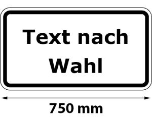 Zusatzschild mit Rand, Text nach Wahl, Breite 750 mm, verschiedene Größen (Maße/Folie/Form:  <b>412x750mm</b>/RA1/Flachform 2mm (Art.Nr.: 81.19900-21))