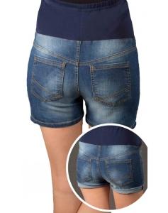 Jeans Shorts / Umstandshose mit Bauchband für Sommer - blau