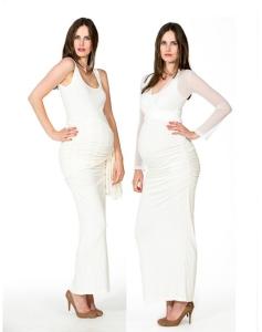 Love2Wait Kleid Auril elegant Bezaubernd Umstands-Brautkleid bodenlanges Hochzeitskleid - creme