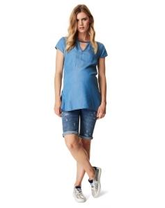 Supermom Capri Jeans Destroyed kurze Hose S0761 - blau