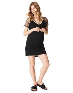 Supermom T-shirt Mesh Sportswear kurze Kleid S0731 - schwarz