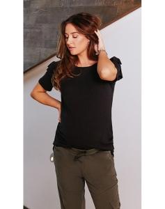 Umstands- Shirt Supermom T-Shirt Ruffle S0733 - schwarz