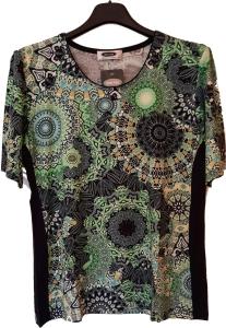 UNO PIU Damen Shirt dunkelblau-grün Schlankmacher (Größe: 40)
