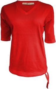 Serena Malin T-Shirt Uni Tunnelzugsaum rot navy (Größe: 40 rot)
