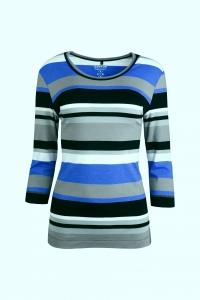 Canyon T-Shirt 3/4 Arm Ringel denim-blue-black (Größe: 40)
