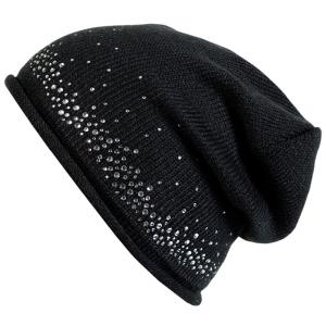 Fiebig Mütze Strickbeanie mit Glitzersteinen