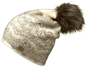 Fiebig Damen Strickmütze FakeFur Pompon Wollanteil (Farbe: natur)