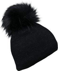 Fiebig Damen Strickmütze Pompon Glitzer (Farbe: schwarz)