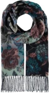 Fiebig Damen Cashminkschal Blumen Blau