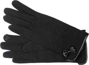 Fiebig Damen Handschuh Schwarz Schleife (Größe: M)