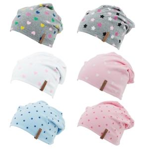 Antonio Kinder Mütze Beanie (Farbe: grau mit bunten Sternen)
