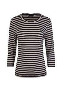 Canyon Ringel-T-Shirt 3/4 Arm schwarz-sand (Größe: 40)