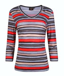 Canyon T-Shirt 3/4 Arm grau-geranienrot-sand (Größe: 42)