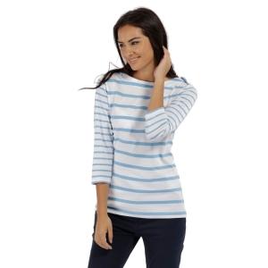 Regatta Parris Streifen T-Shirt weiss-hellblau (Größe: 38)