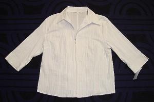 Damen Stretch Bluse mit Zip-weiss (Größe: XL)