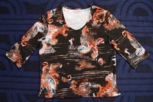 Damen T-Shirt braun/rost mit Muster (Bitte wählen: XXL)