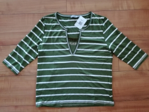 Double M T-Shirt Ringel 3/4 Arm grün (Größe: L ( Gr. 40))