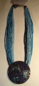 Halskette blau mit Kreis Modeschmuck