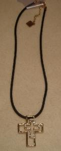 Halskette mit Strassstein-Kreuz Modeschmuck