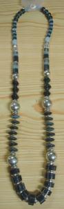 Halskette im Materialmix Blaugrau Töne Modeschmuck